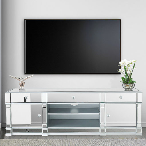 Athens Silver Venetian Mirrored TV Entertainment Stand Large
