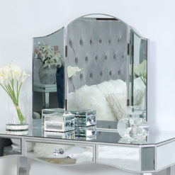Georgia Silver Curved Trifold Dressing Mirror Vanity Mirror