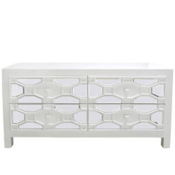 Hyatt White Geometric Design Wood Mirrored TV Stand Entertainment Unit