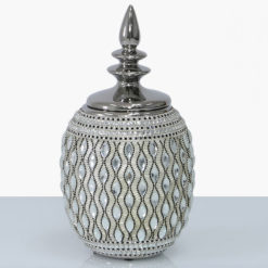 Silver And White Ceramic And Diamantes Ginger Jar Vase With A Lid 33cm