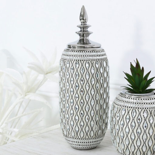 Silver And White Ceramic And Diamantes Ginger Jar Vase With A Lid 45cm