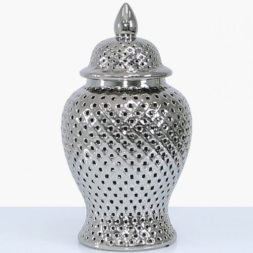 Silver Ceramic Ginger Jar Vase Home Decoration With Domed Lid 46cm