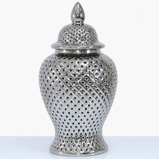 Silver Ceramic Ginger Jar Vase Home Decoration With Domed Lid 61cm