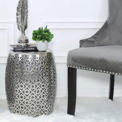 Silver Ceramic Stool Side End Table 46cm