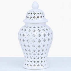 White Ceramic Ginger Jar Vase Home Decoration With Domed Lid 46cm