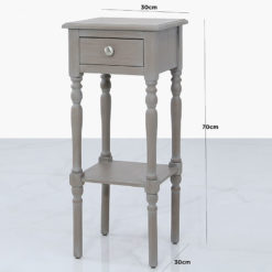 Arabella Taupe Wood 1 Drawer Telephone Table Side Table End Table