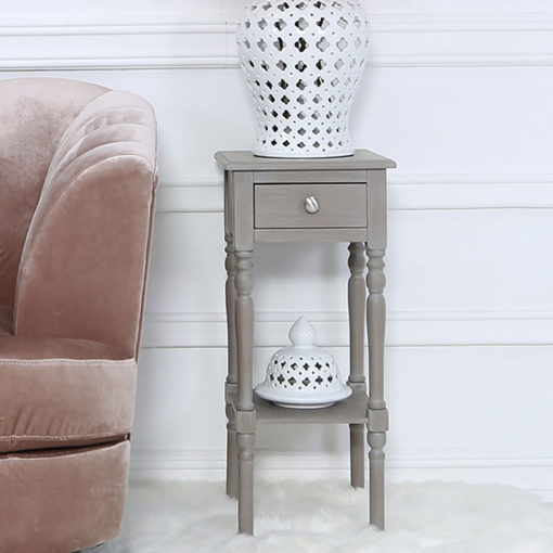 Arabella Taupe Wood Small 1 Drawer Telephone Table Side Table
