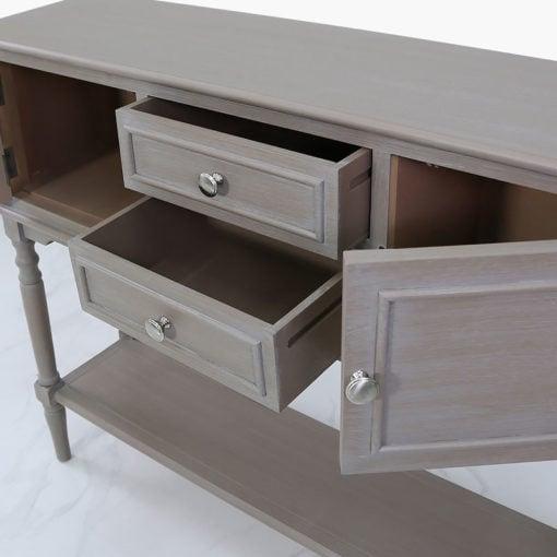 Arabella Taupe Wood 2 Door 2 Drawer Sideboard Cabinet