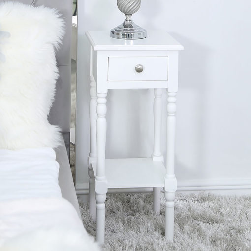 Arabella White Wood Small 1 Drawer Telephone Table Side Table