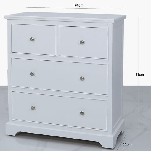 Arabella White Wood 4 Drawer Cabinet Chest Of Drawers