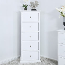Arabella White Wood 5 Drawer Tallboy Cabinet Sideboard Chest