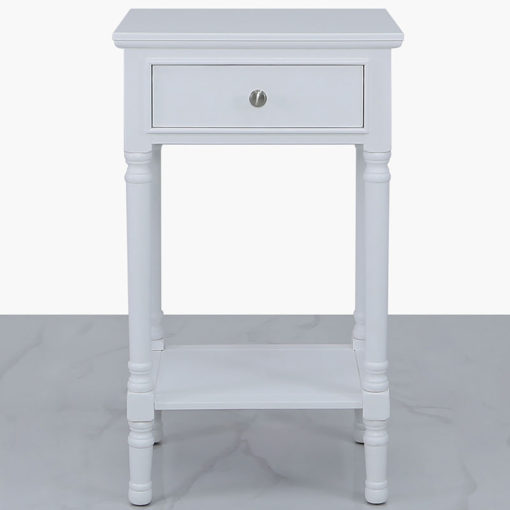 Arabella White Wood Large 1 Drawer Telephone Table Side Table