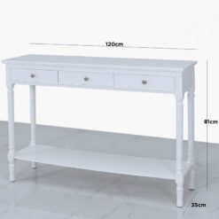 Arabella White Wood Large 3 Drawer Console Table Hallway Table