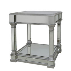 Athens Silver Mirrored End Side Table
