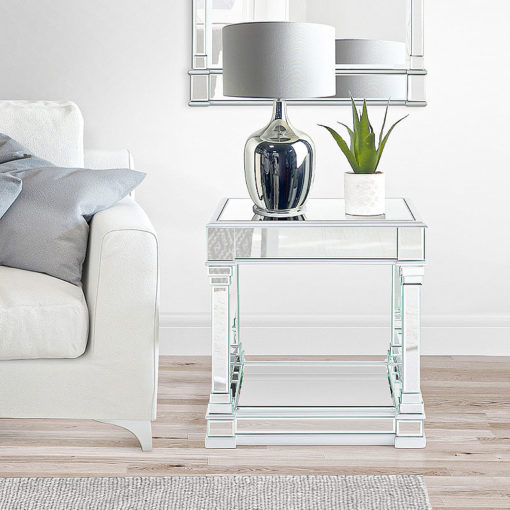 Athens Silver Venetian Mirrored End Side Lamp Table