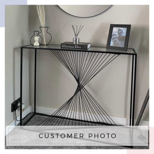 Ava Black Metal And Clear Glass Console Table With Unique Design