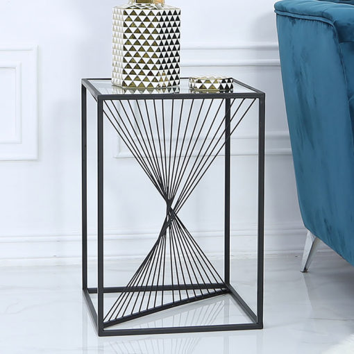 Ava Black Metal And Clear Glass Side End Table With Unique Design