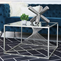 Ava Silver Metal And Clear Glass Coffee Table With Unique Design
