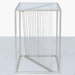 Ava Silver Metal And Clear Glass Side End Table With Unique Design