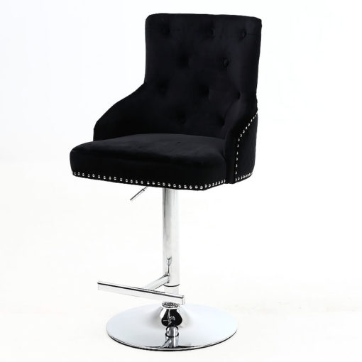Camilla Black Velvet And Chrome Bar Stool With A Lion Ring Knocker