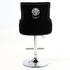 Black Velvet And Chrome Upholstered Bar Stool With A Lion Ring Knocker