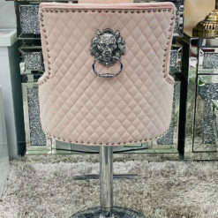 Camilla Pink Velvet And Chrome Bar Stool With A Lion Ring Knocker