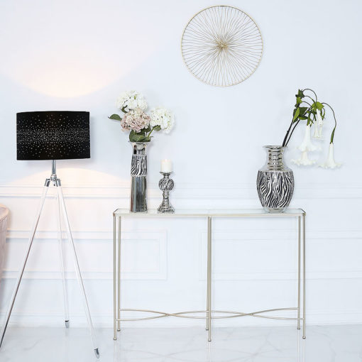 Champagne Wave Metal And Glass Console Table Hallway Table