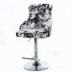 Crushed Velvet And Chrome Upholstered Bar Stool With Lion Ring Knocker