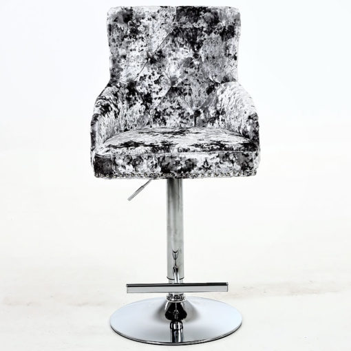 Camilla Crushed Velvet And Chrome Bar Stool With Lion Ring Knocker