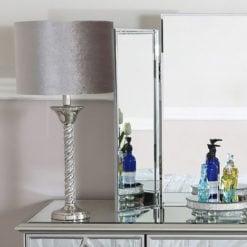 Diamond Glitz Twist Table Lamp With Grey Velvet Shade 40cm