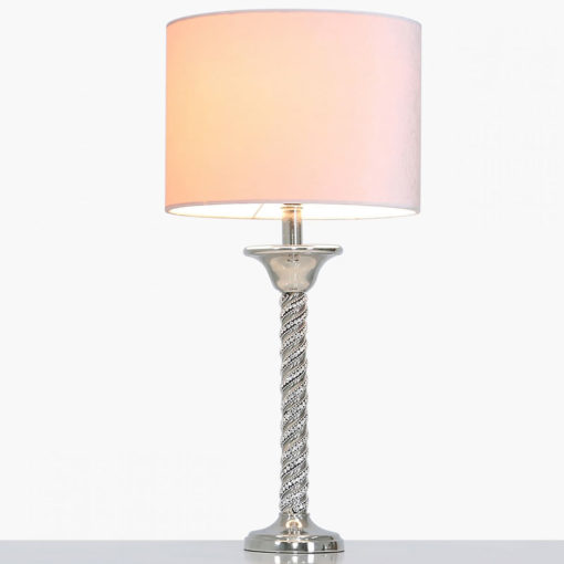 Diamond Glitz Twist Table Lamp With Pink Velvet Shade 40cm