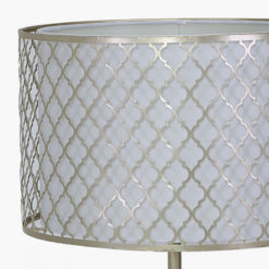 Gold Metal And White Marble Table Lamp With Marrakech Mesh Shade