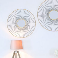 Gold Metal Wall Art With A Round Mirror 66cm
