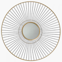 Gold Metal Wall Art With A Round Mirror 76cm