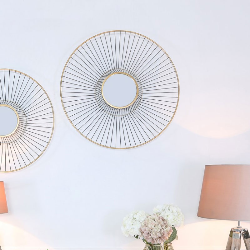 Gold Metal Wall Art With A Round Mirror 76cm Picture Perfect Home