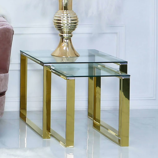 Harper Nest Of 2 Gold Steel And Clear Glass End Side Tables