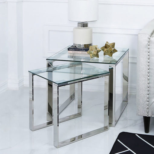 Harper Nest Of 2 Stainless Steel And Clear Glass End Side Tables