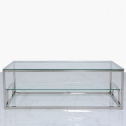 Harper Stainless Steel And Clear Glass Tiered Coffee Lounge Table