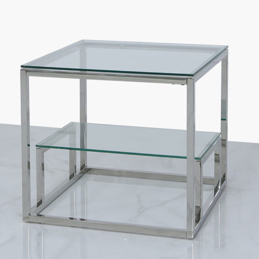 Harper Stainless Steel And Clear Glass Tiered End Side Table