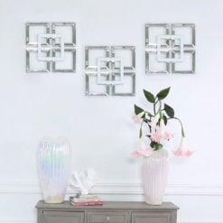 Madison White Small Geo Mirrored Wall Art 40cm
