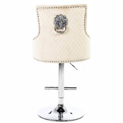 Mink Velvet And Chrome Upholstered Bar Stool With A Lion Ring Knocker