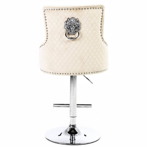 Camilla Mink Velvet And Chrome Bar Stool With A Lion Ring Knocker