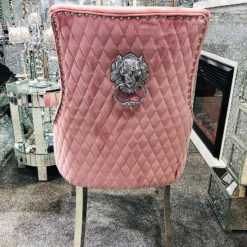 Pink Velvet And Chrome Dining Chair With Lion Ring Knocker