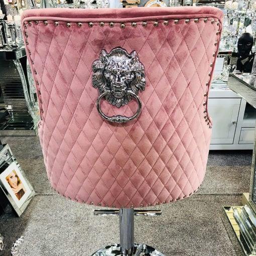 Pink Velvet And Chrome Upholstered Bar Stool With A Lion Ring Knocker