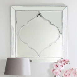 Sahara Marrakech Moroccan Mirrored Silver Large Marbled Wall Mirror