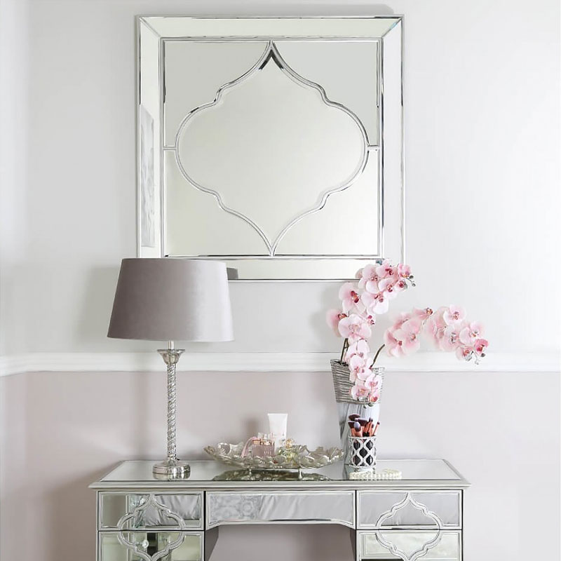 Sahara Marrakech Moroccan Mirrored Silver Large Wall Mirror Picture Perfect Home