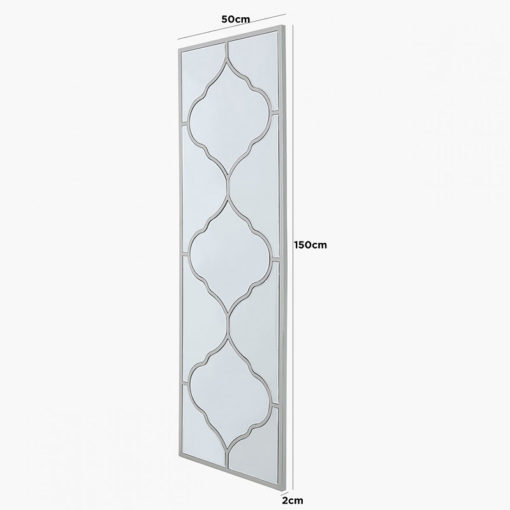 Sahara Marrakech Moroccan Mirrored Silver Vertical Wall Mirror 150cm