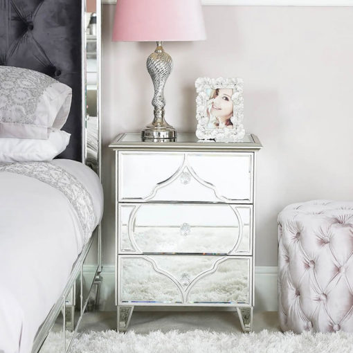 Sahara Marrakech Moroccan Silver Mirrored 3 Drawer Bedside Cabinet