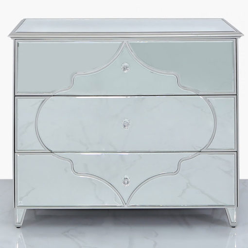 Sahara Marrakech Moroccan Silver Mirrored Large 3 Drawer Chest Cabinet