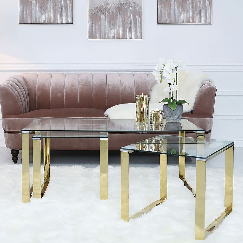 Set Of 1 Harper Gold And Clear Glass Coffee Table And 2 End Tables Picture Perfect Home